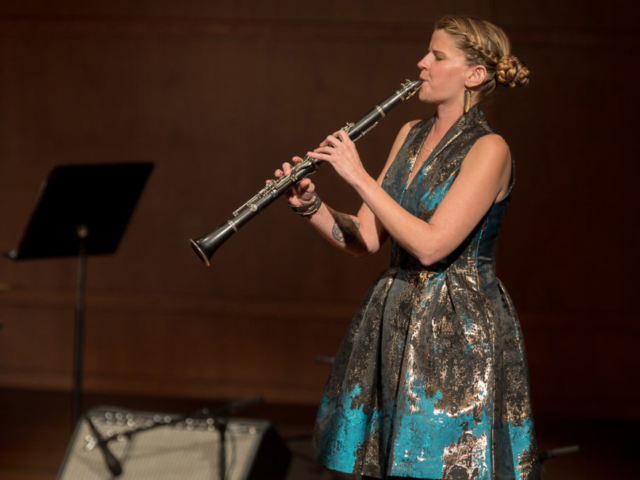 Beth Fleenor playing clarinet, photo by Daniel Sheehan.