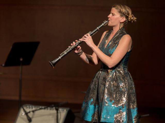 Beth Fleenor playing clarinet, photo by Daniel Sheehan.