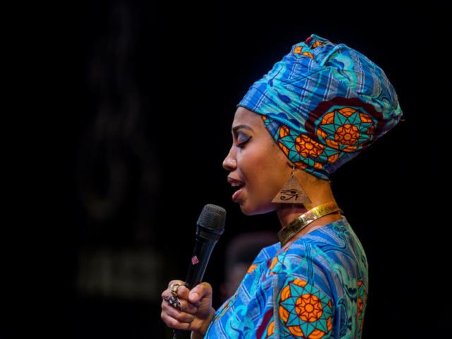 Jazzmeia Horn singing, photo by Daniel Sheehan.