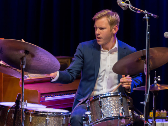 Ted Poor playing drums, photo by Daniel Sheehan.