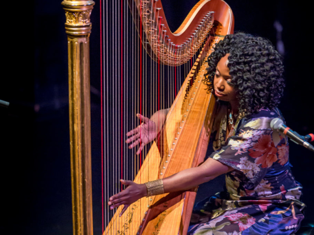 Brandee Younger playing harp, photo by Daniel Sheehan.