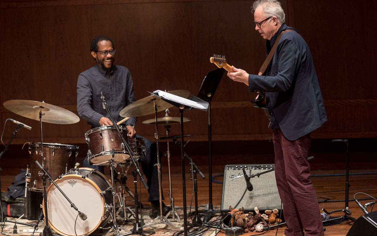 Brian Blade playing drums and Bill Frisell playing guitar, photo by Daniel Sheehan.