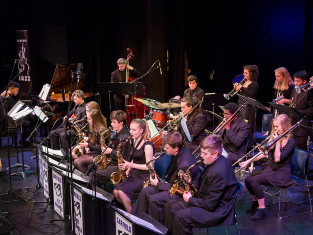 Garfield High School Jazz Band with Clarence Acox, photo by Daniel Sheehan.