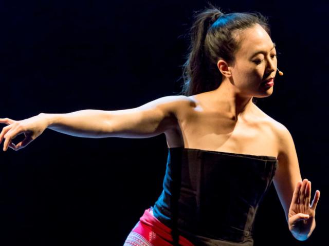 Jen Shyu dancing, photo by Daniel Sheehan.