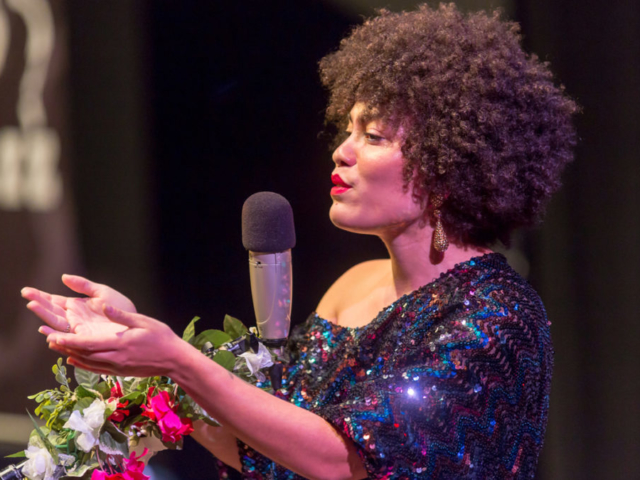 Madison McFerrin singing, photo by Daniel Sheehan.