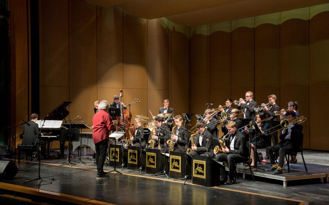 Jovino Santos Neto directing the Roosevelt High Jazz band in the 2019 Earshot Jazz Festival.