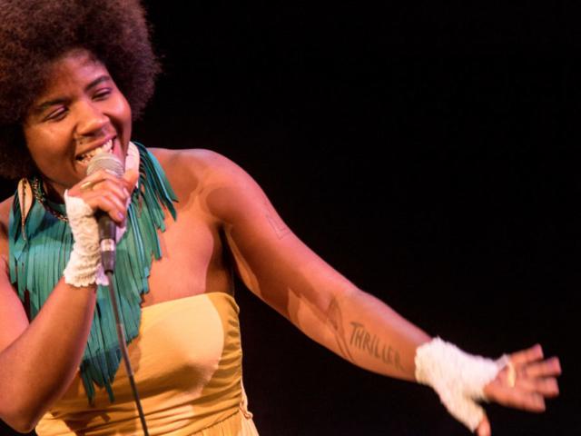 SassyBlack singing, photo by Daniel Sheehan.