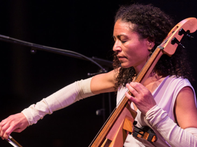 Gretchen Yanover playing the cello, photo by Daniel Sheehan.