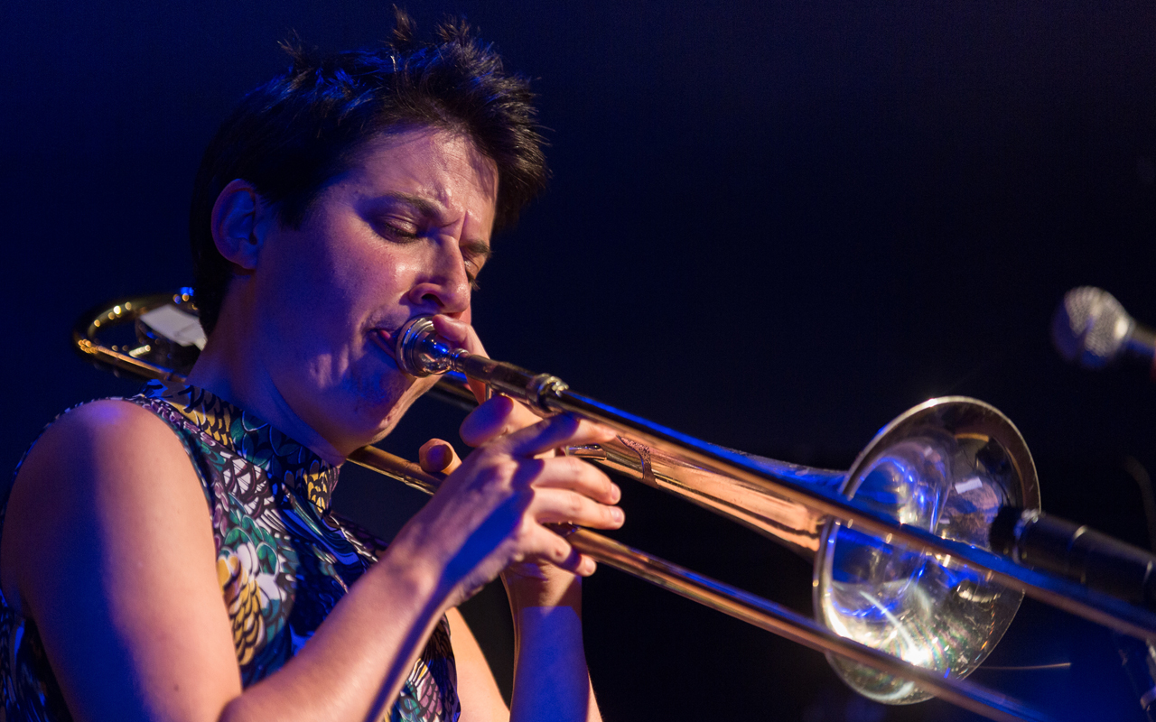 Naomi Moon Siegel playing trombone, photo by Daniel Sheehan.