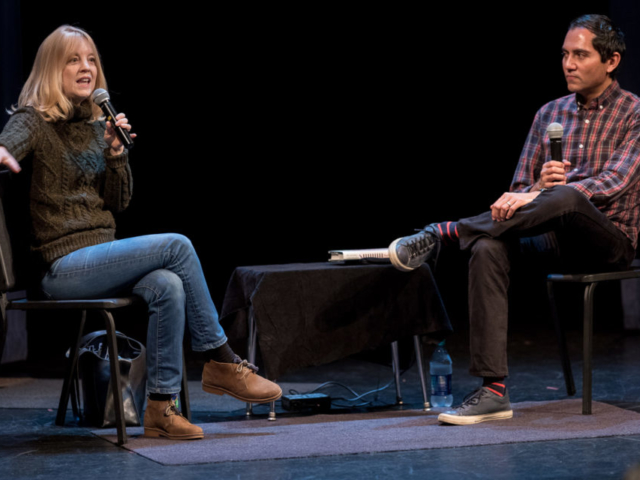 Maria Shneider in converation with Nate Chinen at Cornish College of the Arts, photo by Daniel Sheehan.
