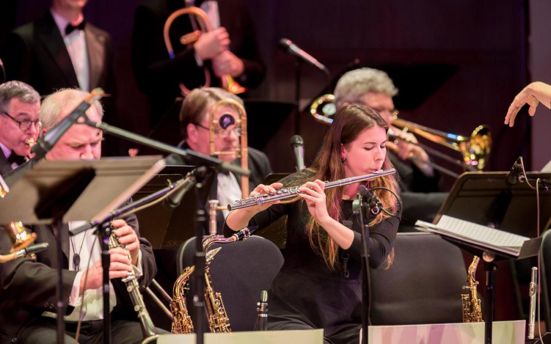 Flutist Sidney Houser and the SRJO horn/brass section in performance at the 2019 Earshot Jazz Festival