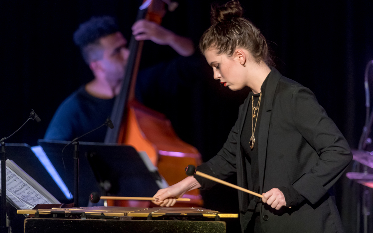 Sasha Berliner playing vibes.