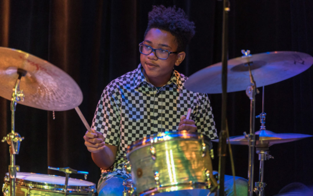 Mekhi Boone playing the drums.