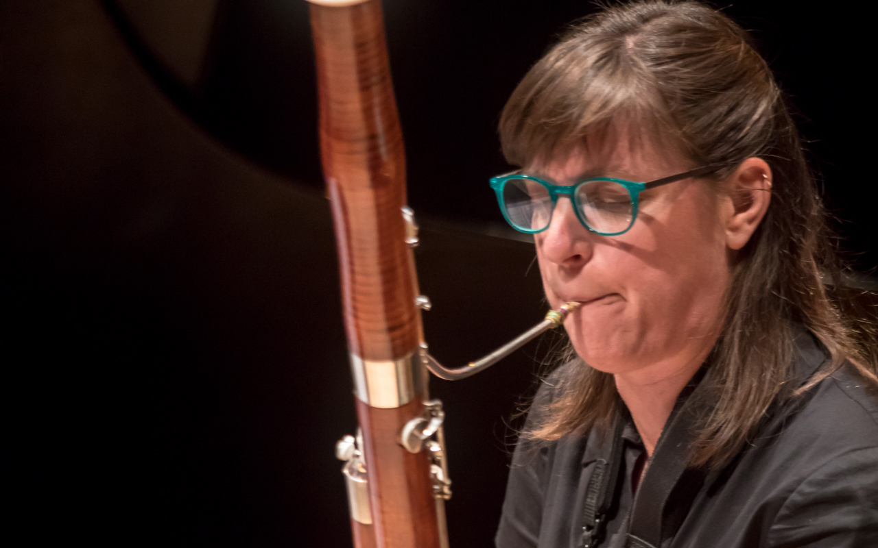 Sara Schoenbeck playing the bassoon.