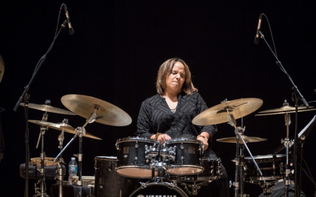 Terri Lyne Carrington playing the drums.
