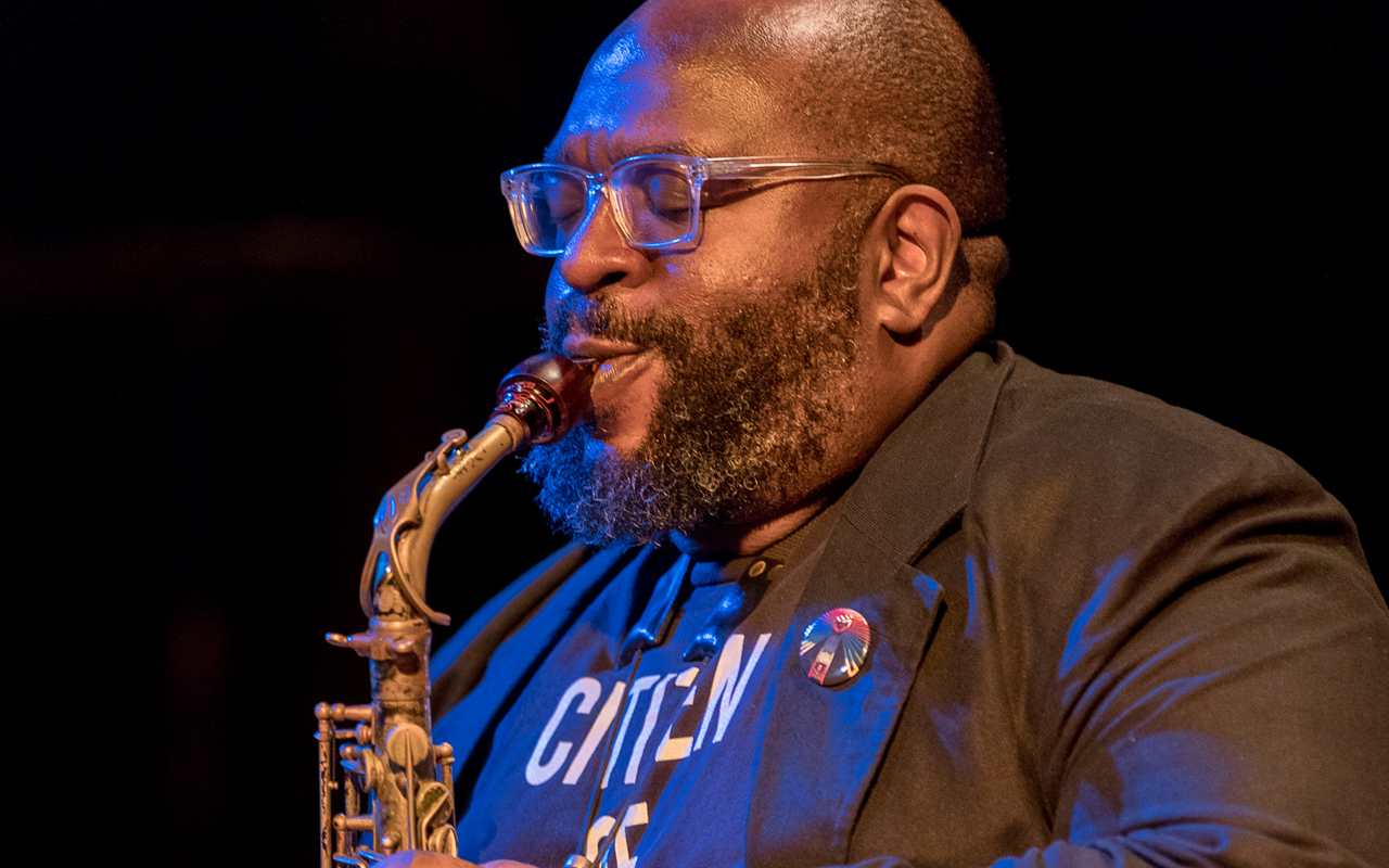 Darius Jones playing the saxophone.