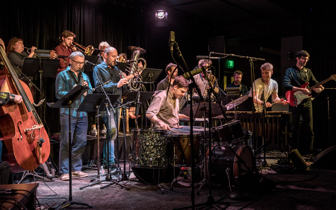 Flate Earth Society, a large 15 piece ensemble from Belgium playing at the Town Hall Seattle.