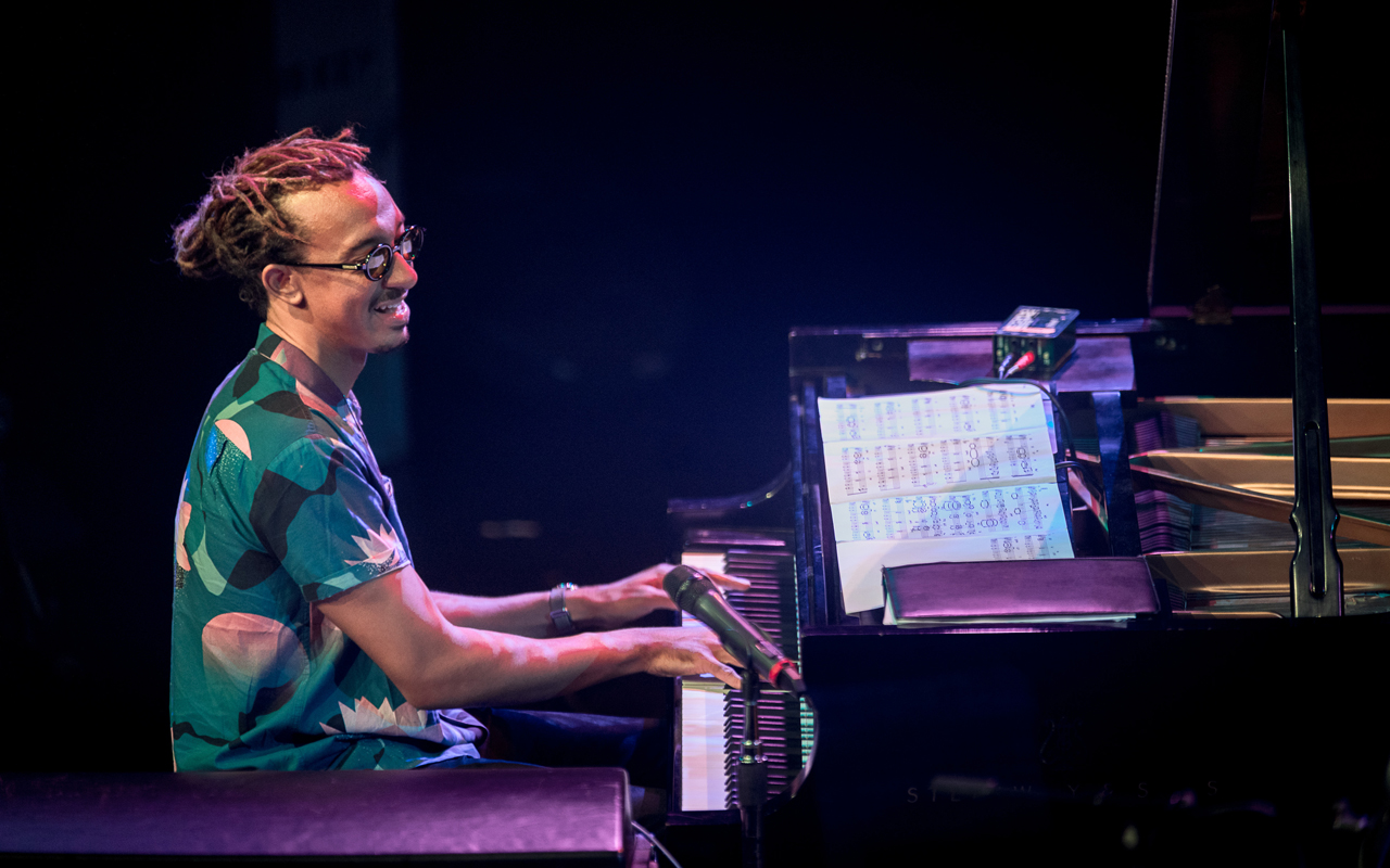 Gerald Clayton plays piano on the Triple Door stage at the 2019 Earshot Jazz Festival