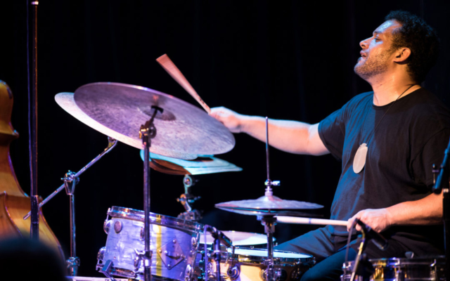 Makaya McCraven playing drums at the Royal Room.