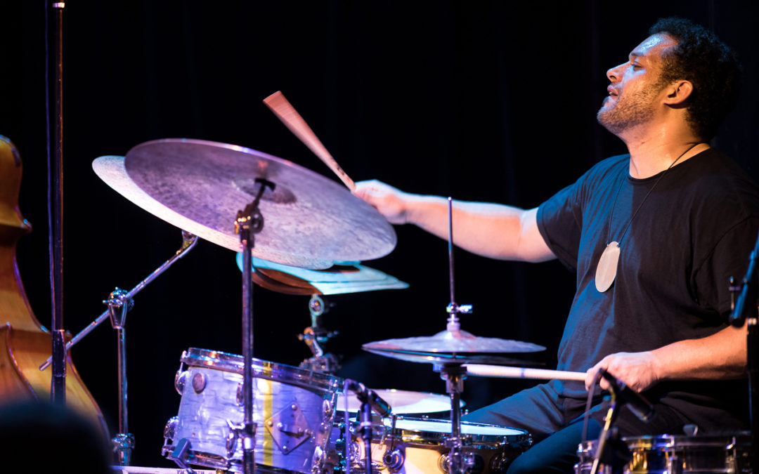 Makaya McCraven playing drums at the Royal Room, part of the 2019 Earshot Jazz Festival