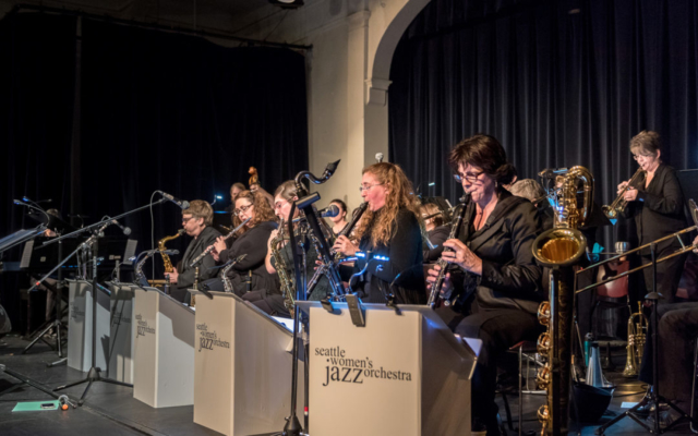 Seattle Women's Jazz Orchestra playing at the Rainier Arts Center.
