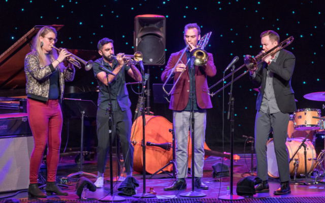 The Westerlies band playing brass instruments at the Triple Door.
