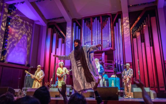 Members of Tinariwen performing at Benaroya Hall.
