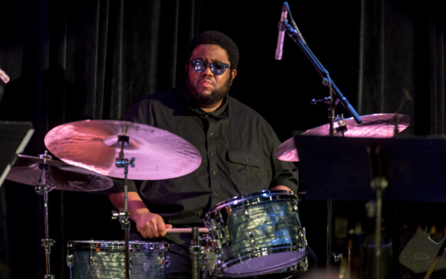 Tyshawn Sorey playing the drums.