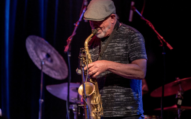 Wally Shoup playing the saxophone.