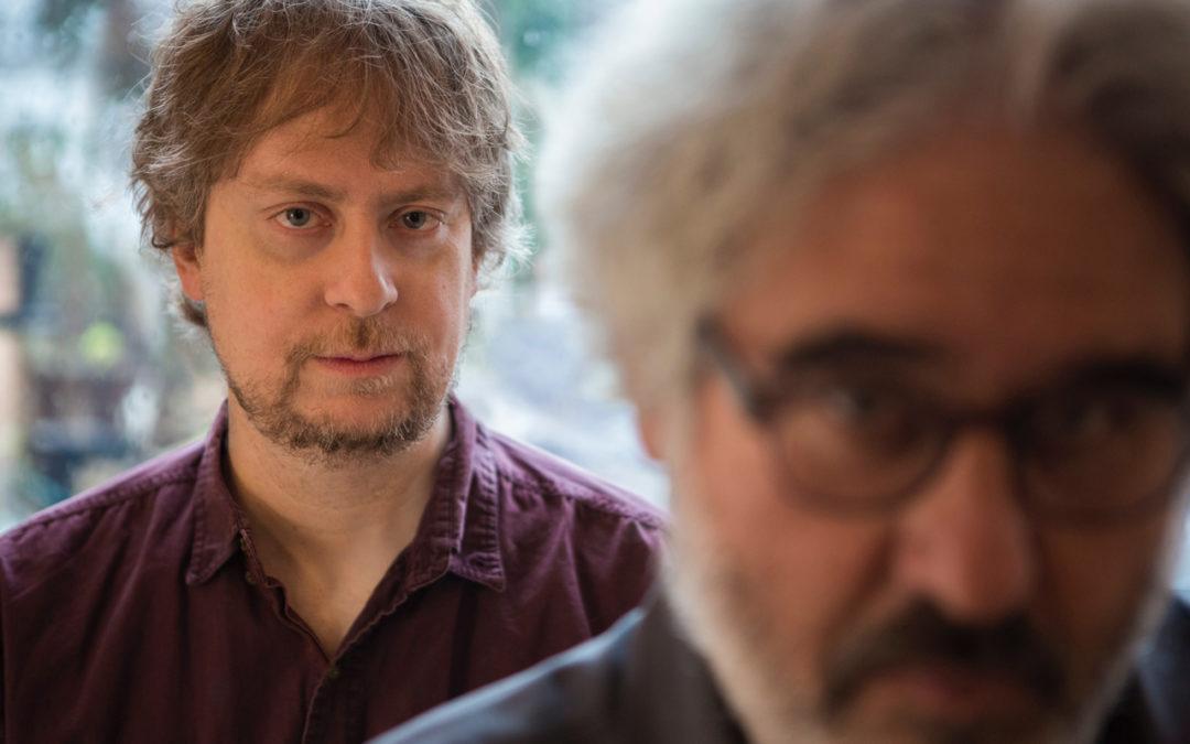 Matt Mitchell and Tim Berne against blurred background