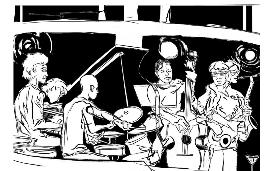 Black and white drawing by Reed Olsen depicting Seattle musicians playing at Vito's Bar