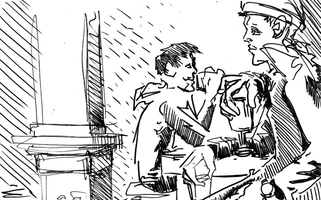 Illustration of two men sitting at a bar. They are alone and facing opposite directions.