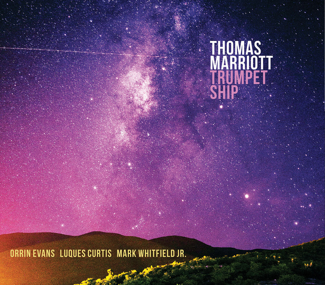 Album cover of a starry sky and hill with the text Thomas Marriott Trumpet Ship