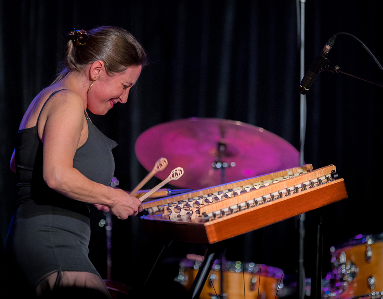 Terry Lyne Carrington playing drums at the 2019 Kris Davis Earshot Jazz Festival concert at on Seattle Art Museum stage