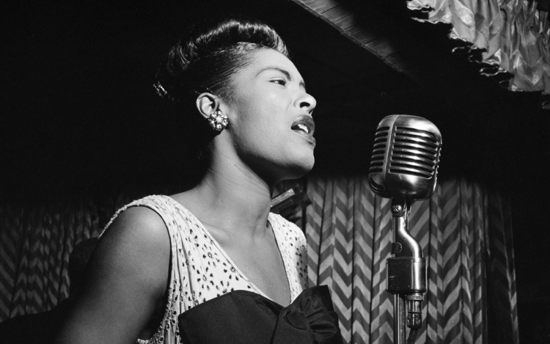 Billie Holiday singing at the Downbeat Club NYC