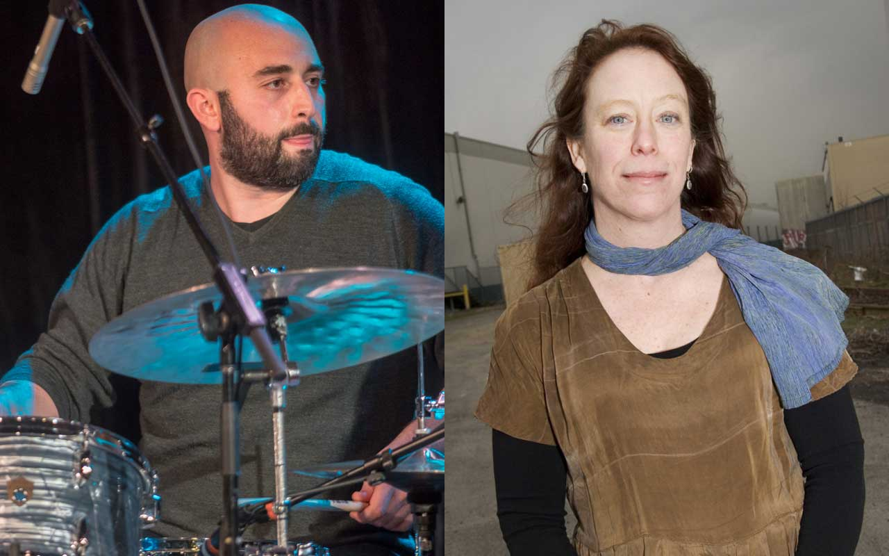 A diptych of Tarik Abouzied playing drums and looking right at Amy Denio