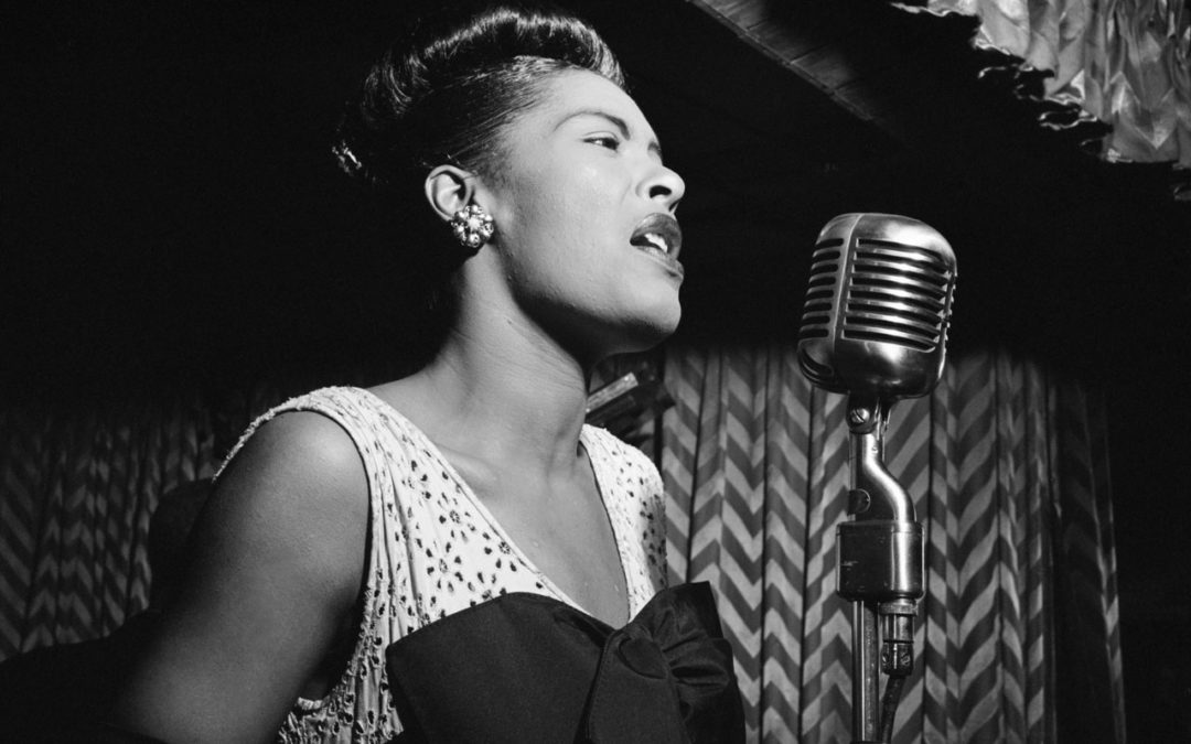 Billie Holiday singing in the Doenbeat, a jazz club in New York, around 1947.