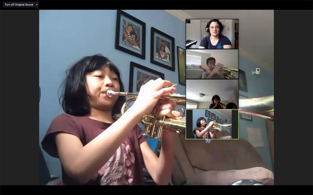 Seattle JazzEd screen shot of a virtual trumpet class