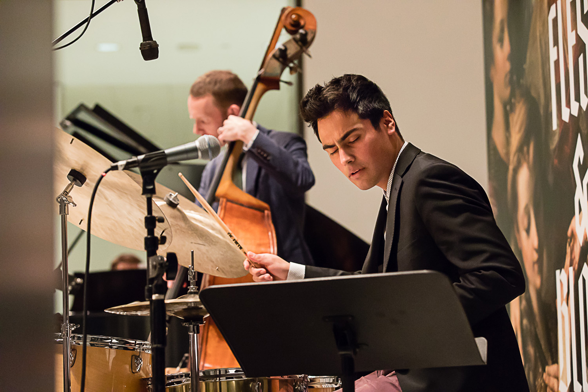 Xavier Lecouturier playing drums at the Seattle Art Museum.
